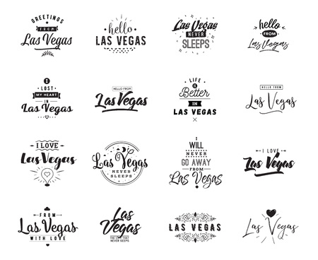 Las Vegas. Greeting cards, vector design. Isolated logos. Typography set.