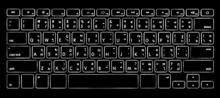 computer thai alphabet keyboard with illuminated backlight.
