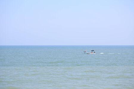 outboard: Small fishing boat at Phetchaburi, Thailand