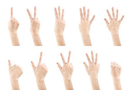 Set female hands gestures making a numbers from 0 to 9 shape isolated on white background with clipping paths photo