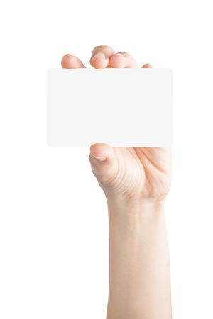 hand holding card: Female hand hold blank card isolated on white background with clipping paths