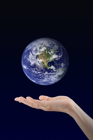 Woman hand holding Earth planet, Elements of this image furnished by NASA photo