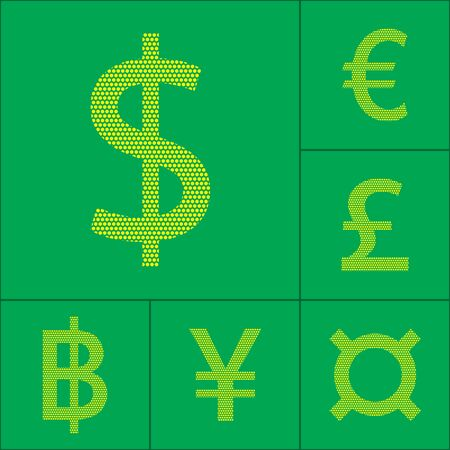 currency symbol: Currency symbol dollar, euro, yen, pound, baht. Vector illustration