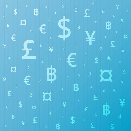 investment concept: Currency symbol background dollar, euro, yen, pound, baht. Vector Illustration