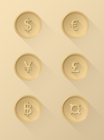 currency symbol: Currency symbol icons dollar, euro, yen, pound, baht. Vector Illustration Illustration