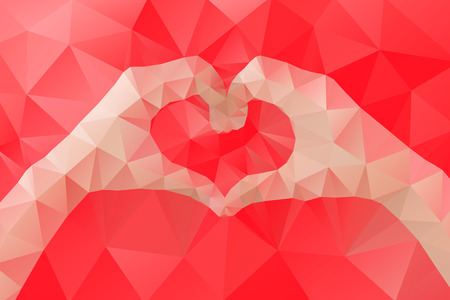 Female hands making a heart shape by abstract geometric triangle in low poly style. Vector illustration