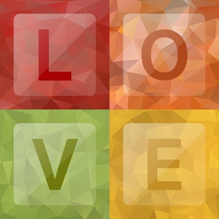 rumpled: Love on abstract geometric rumpled triangular low poly style background, Vector illustration Illustration