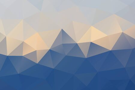 Blue yellow white abstract geometric rumpled triangular background low poly style. Vector illustration