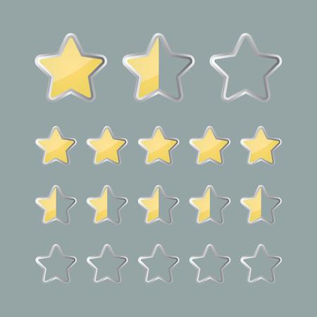 status: Rating stars status icons. Vector illustration