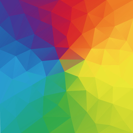 rumpled: Color wheel abstract geometric rumpled triangular background low poly style.