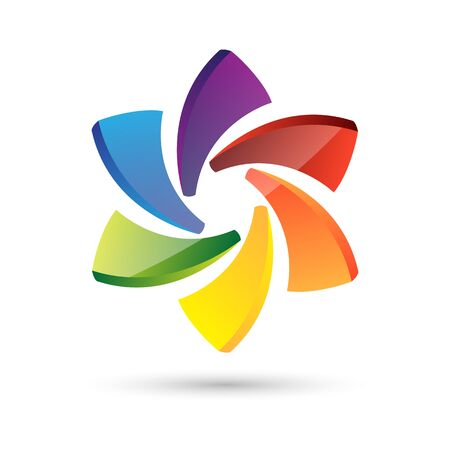 Logo abstract circle multi color isolated on white background, Vector illustration 矢量图像