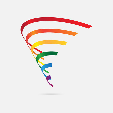 Tecnología icono logo de tres dimensiones diseño de semicírculos, ilustración vectorial