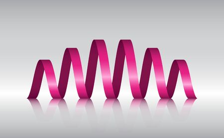in reflection: Pink Spiral Ribbon Abstract Logo with reflection, Vector illustration Illustration