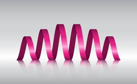 ribbin: Pink Spiral Ribbon Abstract Logo with reflection, Vector illustration Illustration