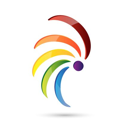 multi color: Abstract icon spiral multi color isolated on white background