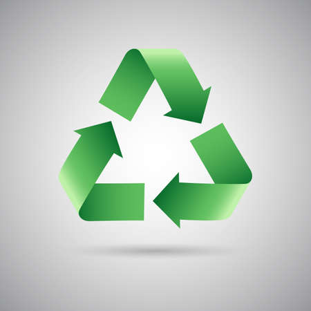 global environment: Green recycle symbol icon, Vector illustration