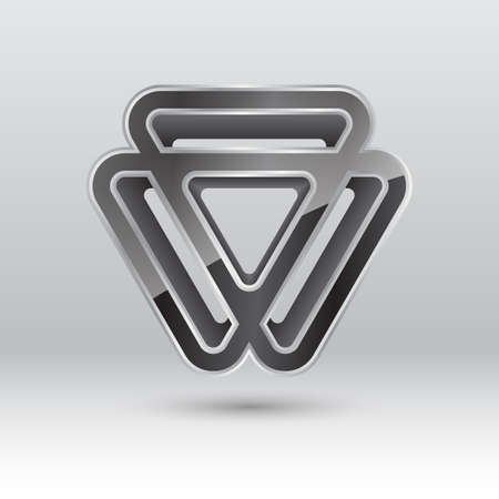 3d triangle: Abstract 3d triangle metal icon, illustration