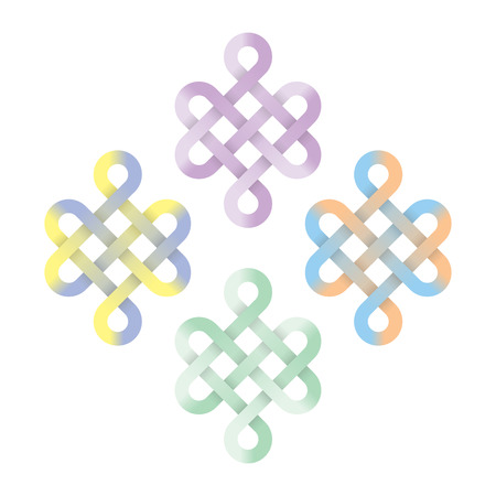 chinese knot: Endless chinese knot pastel color, illustration Illustration