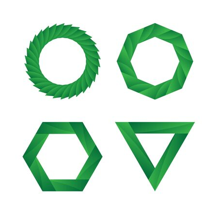 infinite loop: Abstract green geometric Infinite loop icon set