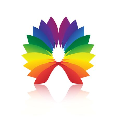 a loop: Abstract shape loop colorful icon with reflection