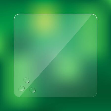 drops of water: Glass frame with water drops on blurred green background Illustration