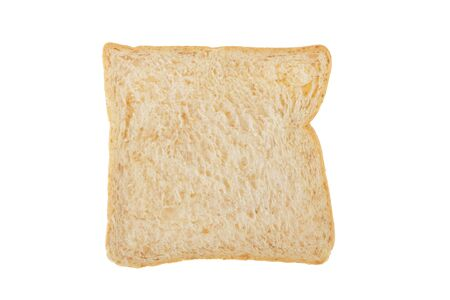 White whole wheat bread slice isolated on white background