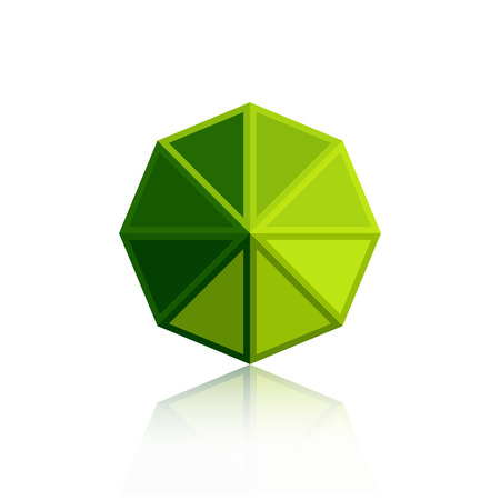 Octagon triangle green icon isolated on white background with reflection