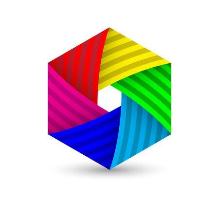 Abstract polygonal hexagon diagram colorful icon template design