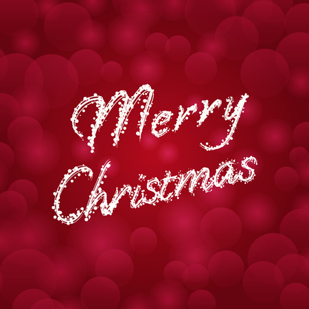 Merry Christmas typography on red blurred bokeh background, Vector illustration Illustration