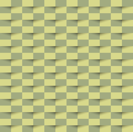 Abstract 3d green geometric seamless texture pattern background with shadow. 3D vector interior wall panel pattern Trendy art style green squares background, Vector illustration with swatches