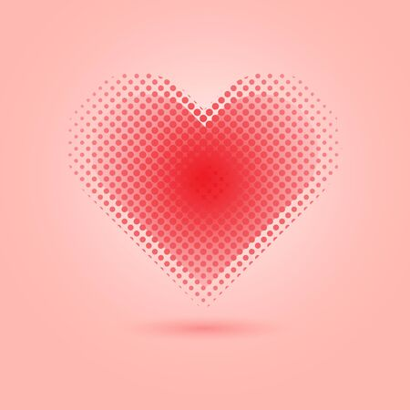 Red heart halftone on pink background