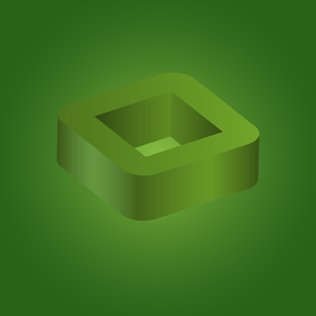 Abstract geometric square 3d logo on green background, Vector illustration eps10 Ilustrace