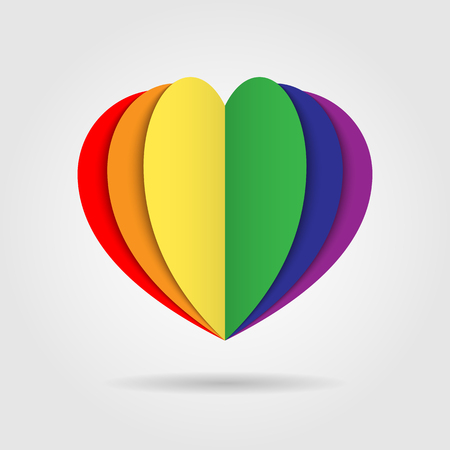 Rainbow heart icon logo on white background, LGBT pride symbol, Multicolored logo, Homosexual love concept, symbol of lesbian, gay, bisexual Ilustrace