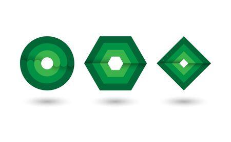Abstract green geometric Infinite loop icon set, Vector illustration