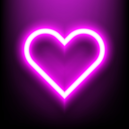 Neon bright lamp in heart shape sign. glowing valentine day holiday decoration love symbol. Icon logo background Vector illustration