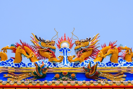 Twin Dragon Sculpture on top roof of Chinese temple photo