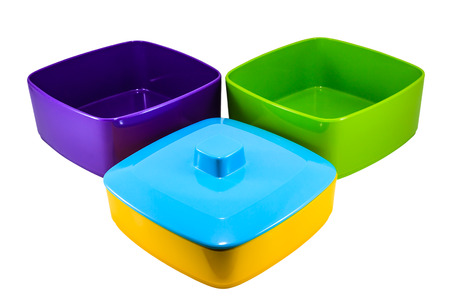 Colorful Food Carrier on White Background photo