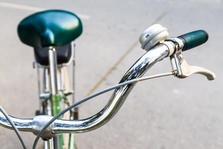 Close-up Stainless Steel Handlebar of Bicycle photo