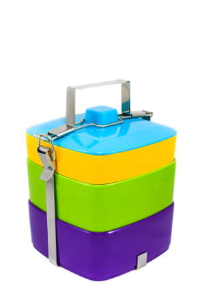 tiffin: Colorful Tiffin on White  Stock Photo