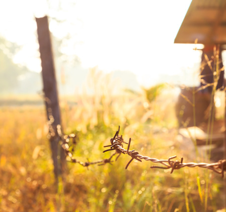 Barbed Wire around Farmhouse with Sunrise photo