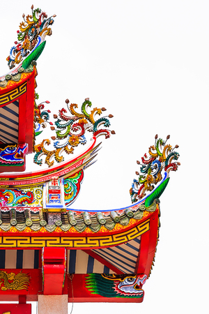 Colorful Decoratived Roof of Chinese Temple photo
