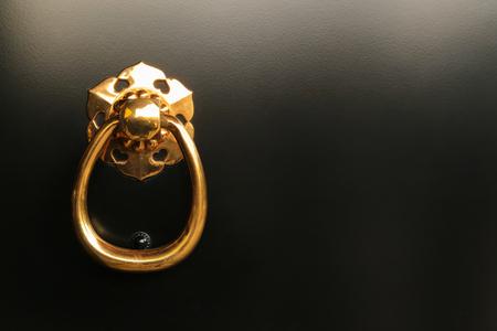 Gold Ring Pull Handle on Black Door photo
