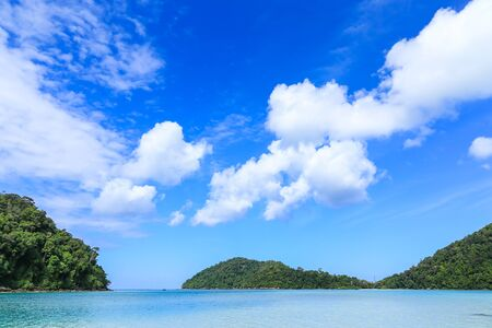 phangnga: Blue Sea With Blue Sky and Cloud at Marine National Park in Phangnga, Thailand