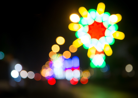Abstract blurred background, Bokeh of colorful street lamp, car light and funfair