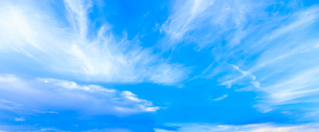 Panorama fantacy blue sky and sofyly clouds background in summer
