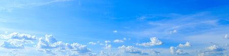 Panorama of blue sky background and white clouds in sunny day with skyspace Stok Fotoğraf