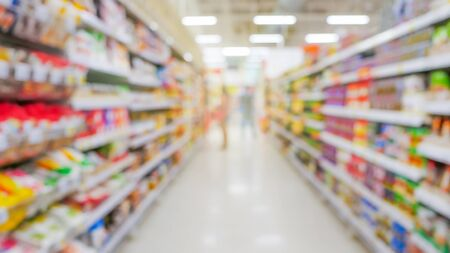 Abstract blurred background, People shopping goods  on shelves between corridor with flare light backdrop in supermarket