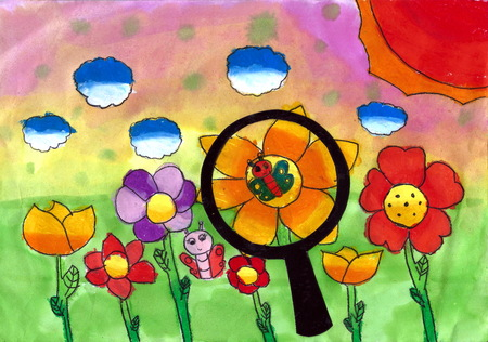 kids painting: Magnifier - a kids painting using chalk and watercolor techniques, drawn by a 7-year-old artist on 2nd April 2016.