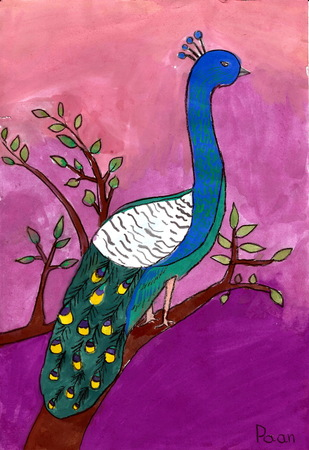 kids painting: Peacock - a kids painting using color poster techniques, drawn by a 7-year-old artist on 26th September 2015.