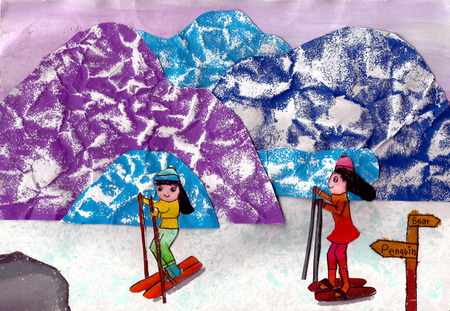 Skiing - a kids painting using texture printing techniques, drawn by a 7-year-old artist on 23rd January 2016.